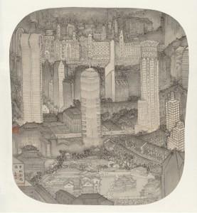 Xu Jianguo-Reconstructing New Shanghai ink version 徐健国-申城新瑞图水墨本